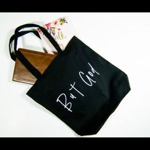 """But God"" Canvas tote bag"